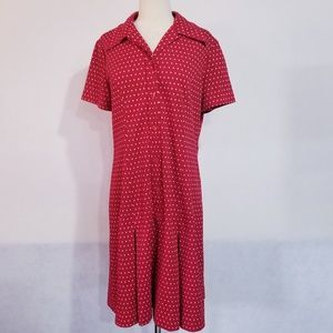 1960s Country Miss Red & White Polka Dot Poly Dres